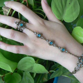 aqua slave bracelet, hand flower , glass aquamarine hand chain, cosplay jewelry
