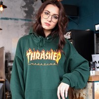 Thrasher Classic Flame Logo Forest Green Hoodie