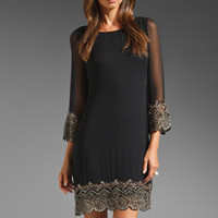 Alice + Olivia Liat Embellished Bell Sleeve Dress in Antique Silver from REVOLVEclothing.com