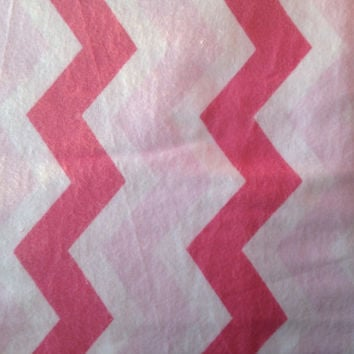 Zig Zag Pink and White Chevron Flannel Fabric, Quilting, 1 Yard, more available