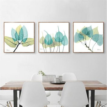 Modern Nordic Blue Green Leaves Abstract Plant Canvas Painting Transparent Foliage Wall Art Poster Living Room Bedroom Decor