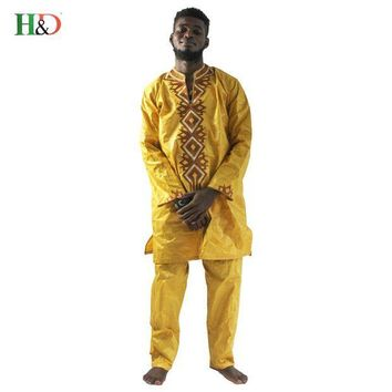 ONETOW Free shipping Fashion African Men Clothing Bazin Traditional Classic Riche Embroidery Dashiki With Trouser Five Colors plus Size