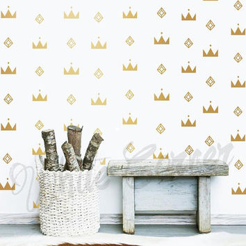 Diamond Wall Decals - Scandinavian Set Vinyl Decals, Modern Decals, Crown Wall Stickers, wall Decor, Wall Art, Geometric Decor ga9