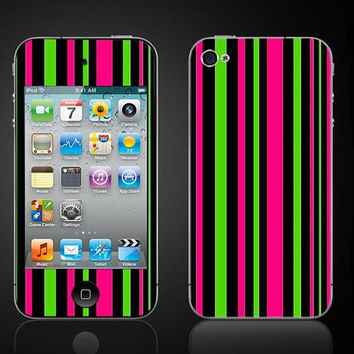 Apple iPod Touch 4 Vinyl Decal Neon Stripes 4th Gen Wrap Skin Sticker Cover - Free Shipping - NOT a HARD CASE