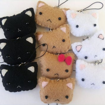 Cute Kitty Cat - Felt Phone Charm, Keychain, and Christmas Ornament