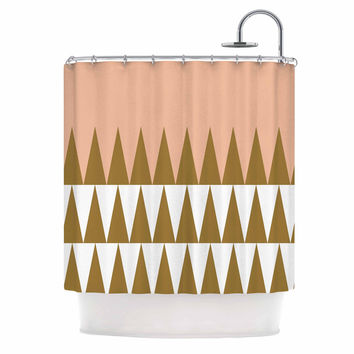 "Suzanne Carter ""Peach Geo"" Peach Black Shower Curtain"