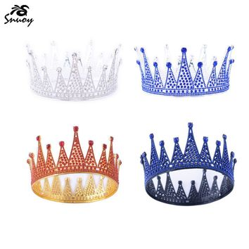 Cool Snuoy Black Metal Crown Red/Blue Full Round Crown Royal King/Queen Halo Circle Tiara Birthday Party Luxury Hair Jewelry PageantAT_93_12