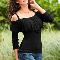 Ruffle cold shoulder top by VENUS