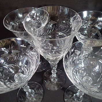 Tiffin Crystal cut glass stemware wine glasses and water glass, twist stem 1940's. Pattern TIF15037-15