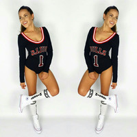 Gagaopt 2016 New Style Bodysuit Bulls Letter Print Sexy Jumpsuit Casual Long Sleeve Slim One Piece Women Fashion Wear Jumpsuits
