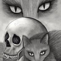 Black Cat Art Witch's Cat Drawing Vampire Skull Gothic Cat Art Drawing Fantasy Cat Art Print 8x10 Cat Lovers Art