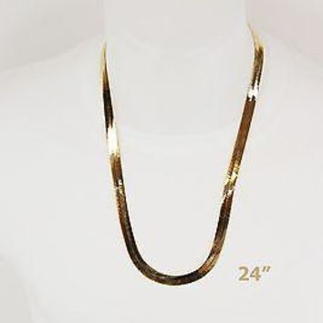 Jewelry Kay style Men's Women's  Flat Flexible Shine Herringbone Chain Necklace 14kt Gold Plated!!