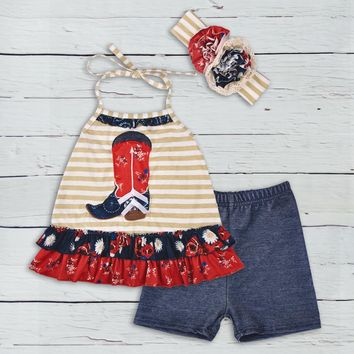 Cowboy Embroidery Denim Bottom Girls Set