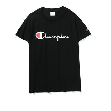 Champion embroidered short sleeved T - shirts for men and women lovers