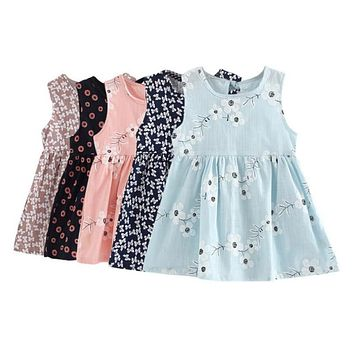 2017 New Infant Kids Girls Child  A-line Dress Sleeveless Floral Printed Kid Princess Party Dance Evening Vestido 1-5Y S2