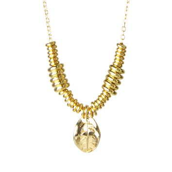 Gold Leaf & Heishi Layering Necklace