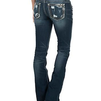 Miss Me Women's Faded Medium Wash with Thick Stitch & Distressed Details Open Back Pocket Signiture Boot Cut Jeans