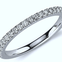 0.32ct Round Diamond Wedding Stack Ring 18kt White Gold  JEWELFORME BLUE
