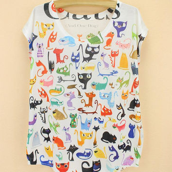 Doodle Cats print Tshirt ladies Novelty pattern t-shirts womens fashion summer dress big size tops tees short sleeved clothing