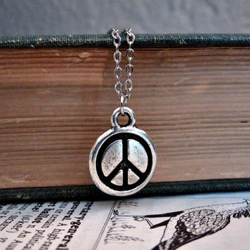 Little Peace Sign Necklace - Silver Pewter Peace Symbol