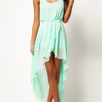 Light Green Plain Irregular Swallowtail Sleeveless Chiffon Dress