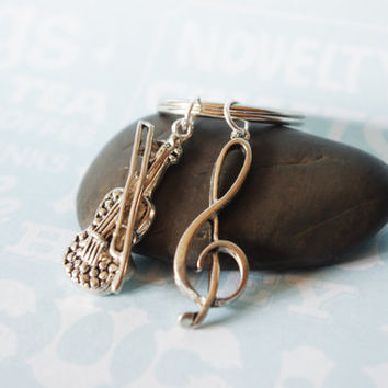 Cello and Music Note Keychain