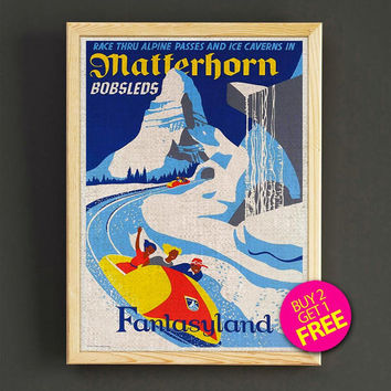 Vintage Fantasyland Matterhorn Bobsleds Print Disneyland Attraction Poster Home Wall Decor Gift Linen Print - Buy 2 Get 1 FREE - 345s2g