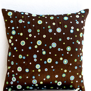 Brown Silk Cushion Cover With Beaded Polka Dots In Blue, Green, White Geometric Pillows