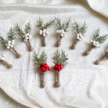 SET OF 10 Winter wedding rustic wedding cypress bulap white frozen and red fruits BOUTONNIERES Groom and groomsmen, Wedding Flowers custom