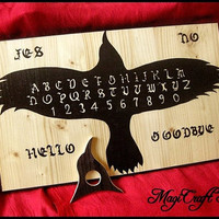 Ouija Board Crow with planchette - wicca exorcism witch magic - size 40x23,8 cm