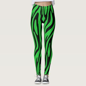 Forest Green Zebra Print Leggings