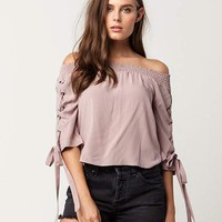SKY AND SPARROW Grommet Lace Up Womens Top | Blouses