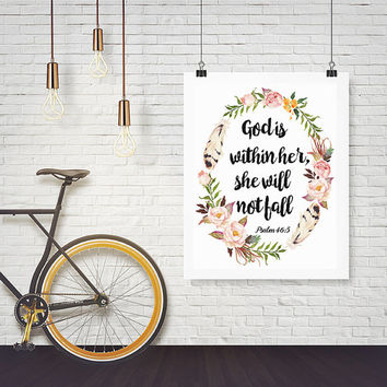 Psalm 46:5 Printable wall decor Bible verses God is within her she will not fall Nursery verse print decor scripture art printable