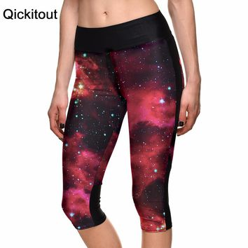 Red Galaxy Psychedelic 3D Print Leggings