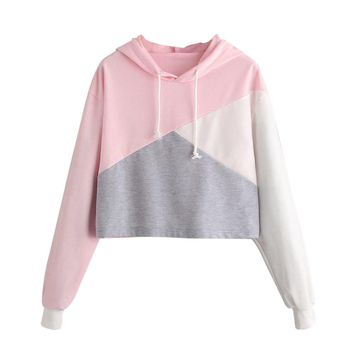 Women Long Sleeve Hooded Pullover Crop Tops
