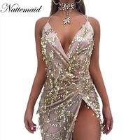NATTEMAID 2017 Spring Women vintage dress Apparel Sexy sequin tassel beach party Club Wear Maxi long dresses Gold sequined Robe