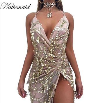 vintage Maxi long dresses Gold sequined Robe