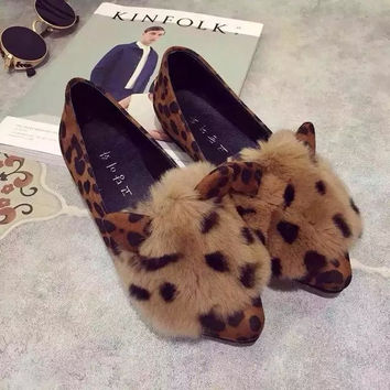Rabbit ears in autumn and winter pointed toe shoes furry lady leopard printed flat shoes warm winter