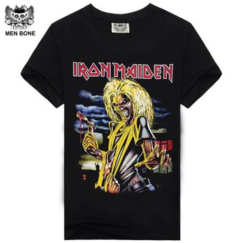 [Men bone] Tee Men T Shirt Black T-Shirt Tshirt Men's Shirt Cotton Iron Maiden Print Rock Hip Hop Heavy Metal Style Clothing