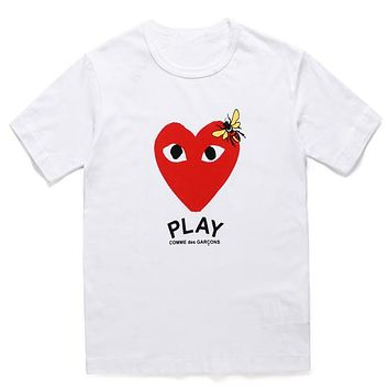 PLAY 2019 new street fashion men and women wear love printed round neck half sleeve T-shirt white