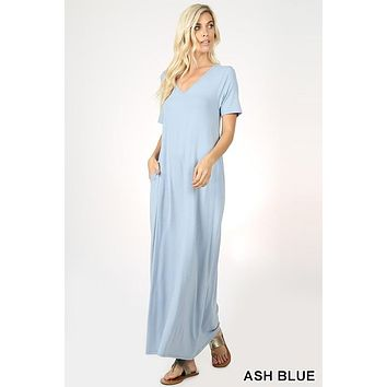 Premium Quality V-NECK SHORT SLEEVE MAXI DRESS WITH SIDE POCKETS