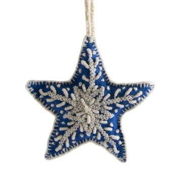 Star Embroidered Holiday Ornament