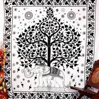 Vedindia's Black and White Elephants Mandala Tapestry by VedIndia