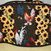 Quilted Toaster Cover - Large Toaster Cover - Kitchen Accessory Cover - Roosters and Sunflowers