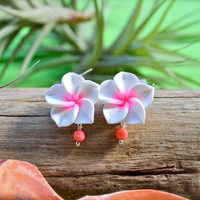 Pink Plumeria Earrings, Tropical Flower Jewelry from Hawaii by Mermaid Tears for Beach Brides