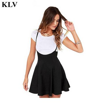 Women Fashion Black Skirt With Shoulder Straps Pleated Skirt Suspender Skirts Au25
