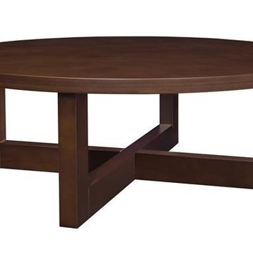 "Chloe 37"" Round Coffee Table- Mocha Walnut"