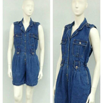 Vintage 90s Bill Blass Denim Romper, Denim Playsuit, Denim Bodysuit, Blue Jean Romper, Jean Playsuit, Denim Shorts, Denim Jumpsuit