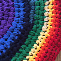 SALE- Rainbow Crocheted Rag Rug- Upcycled Tshirts, Round