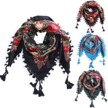 2018 Hot Sale New Fashion Woman Scarf Square scarves short Tassel Floral printed Women Wraps Winter lady shawls Headband